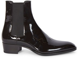 Saint Laurent Vernice Glove Patent-Leather Chelsea Boots