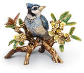 Jay Strongwater Blue Jay on Branch Figurine
