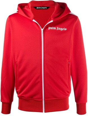Palm Angels Logo-Print Zip-Up Hoodie