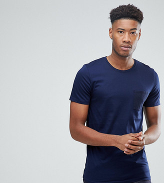 Selected Stripe Tee With Contrast Pocket-Navy