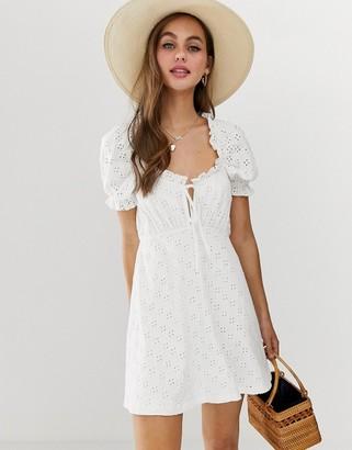 Asos Design DESIGN puff sleeve broderie tea dress-White