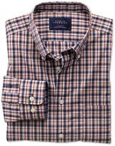 Classic Fit Non-iron Poplin Blue And Orange Check Shirt