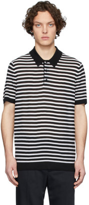 Joseph Black and White Merino Stripe Polo