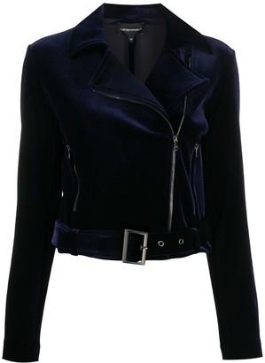Emporio Armani Velvet Detail Biker Jacket