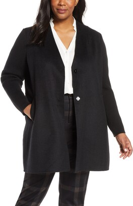Kenneth Cole New York Knit Sleeve Wool Blend Coat