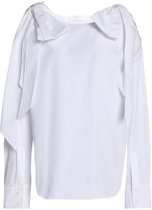 Chloé Cold-shoulder Draped Cotton Top