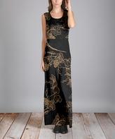 Aster Black & Beige Grapes Maxi Dress - Plus
