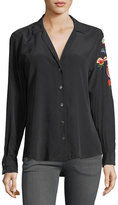 Equipment Adalyn Button-Front Silk Blouse w/ Embroidery