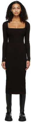 Ganni Brown Rib Knit Dress