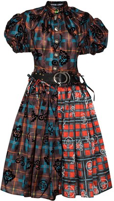 Chopova Lowena Bula flocked checked dress