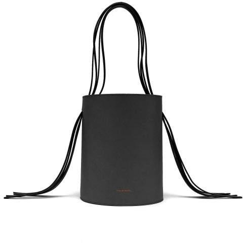 Mansur Gavriel Fringe Red Lined Leather Bucket Bag - Womens - Black