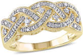 Zales 1/8 CT. T.W. Diamond Vintage-Style Braid Ring in Sterling Silver with Yellow Rhodium