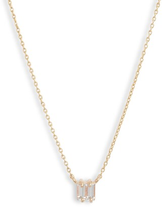 Poppy Finch White Sapphire Double Baguette Necklace
