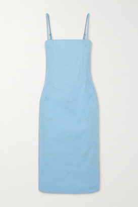 Miaou Net Sustain Degas Embroidered Stretch-cotton Chambray Dress