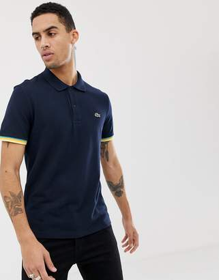 Lacoste tipped sleeve polo in navy