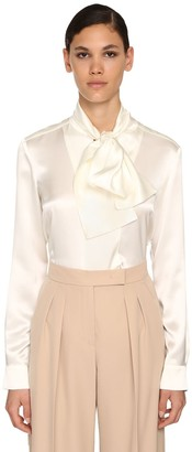 Max Mara Silk Satin Shirt W/knot Collar