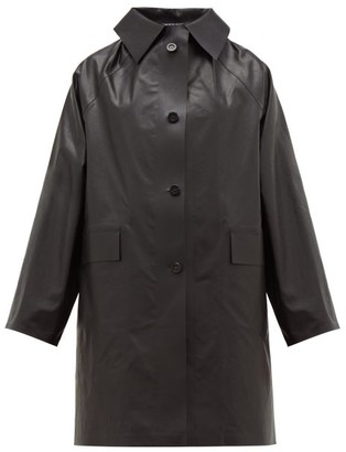 Kassl Editions - Single-breasted Coated Cotton Blend Coat - Womens - Black