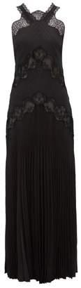 Fendi Lace Panelled Silk Jacquard Dress - Womens - Black