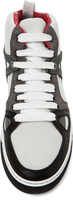Lanvin Mid Top Mixed Sneaker in White