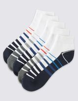 Marks and Spencer 5 Pairs of Cotton Rich Cool & FreshTM Quarter Length Sports Socks