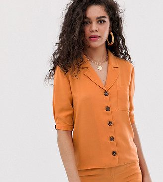 Fashion Union Tall short sleeved blouse co-ord-Orange