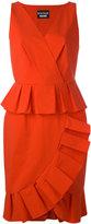 Moschino frill hem V-neck dress - women - Cotton/other fibers - 46