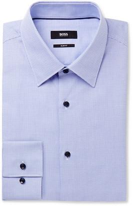 HUGO BOSS Blue Jano Slim-Fit Puppytooth Cotton Shirt