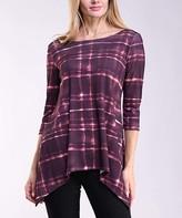 Lbisse Women's Blouses Wine - Wine Abstract Three-Quarter Sleeve Tunic - Women