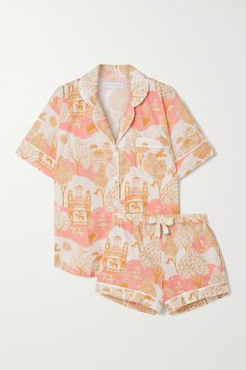 Desmond & Dempsey India Printed Organic Cotton Pajama Set - Pink