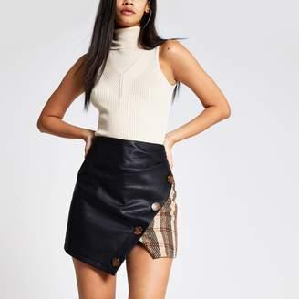 River Island Womens Brown check wrap mini skirt