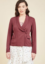 You aren't just a coder for kicks - you develop with a passion! And panache, thanks to this muted burgundy blazer! Adding excitement to your next project with its tux-like lapels, asymmetrical single-button closure, and flap pockets, this ModCloth namesak