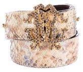 Roberto Cavalli Embellished Python Belt