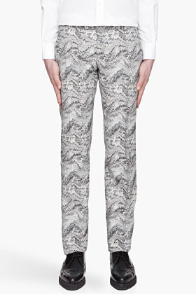 Thierry Mugler Blue and beige Printed Trousers