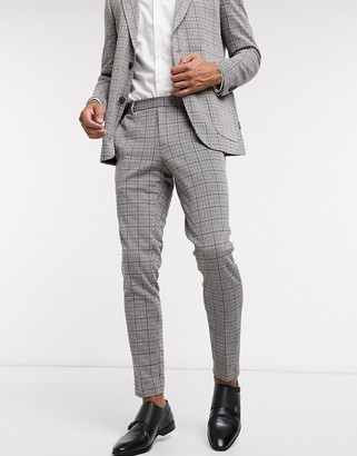 ONLY & SONS suit trouser with elasticated waist in heritage check
