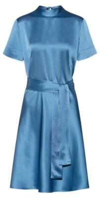 HUGO BOSS Slim Fit A Line Dress In Lustrous Crepe Georgette - Dark Blue
