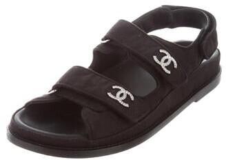Chanel Interlocking CC Logo Sandals Black