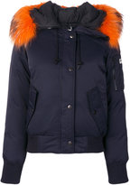 Kenzo arm pocket hooded jacket - women - Feather Down/Nylon/Polyester/Racoon Fur - S