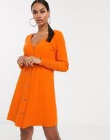 Asos Design DESIGN super soft rib button through dress in orange