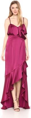 Adrianna Papell Women's Satin Spaghetti Strap Ruffled Long Dress
