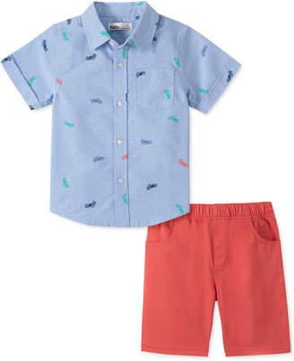 Kids Headquarters Little Boys 2-Pc. Motorcycle-Print Oxford Shirt & Red Twill Shorts Set