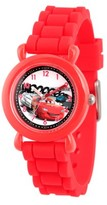 Disney Lightning McQueen Boys' Red Plastic Time Teacher Watch, Red Silicon Strap