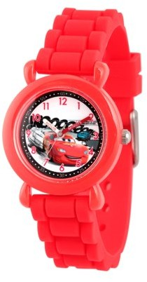 Disney Cars Lightning McQueen Boys' Red Plastic Time Teacher Watch, Red Silicon Strap