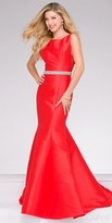 Jovani Plunging V-Back Beaded Waist Evening Gown