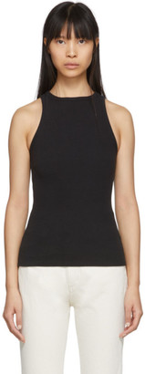 A Gold E Black Rib High Neck Tank Top