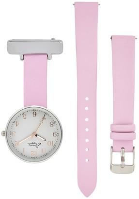 Bermuda Watch Company Annie Apple Empress Interchangeable Silver, Pink Leather Wrist To Nurse Watch