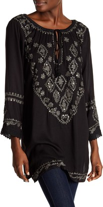 BOHO ME 3/4 Length Sleeve Embroidered Cover-Up