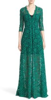 Carolina Herrera Button Front Lace Gown