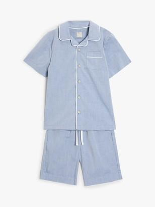 John Lewis & Partners Boys' Chambray Short Pyjamas, Blue