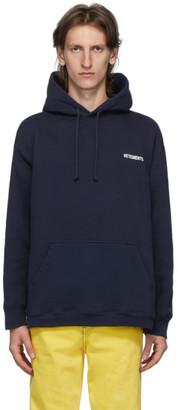 Vetements Navy Logo Hoodie
