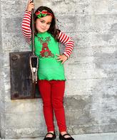 Beary Basics Green & Red Reindeer Tee & Leggings - Toddler & Girls